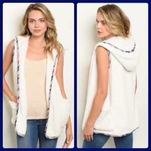 Soft white hooded vest - faux sherpa - NWT